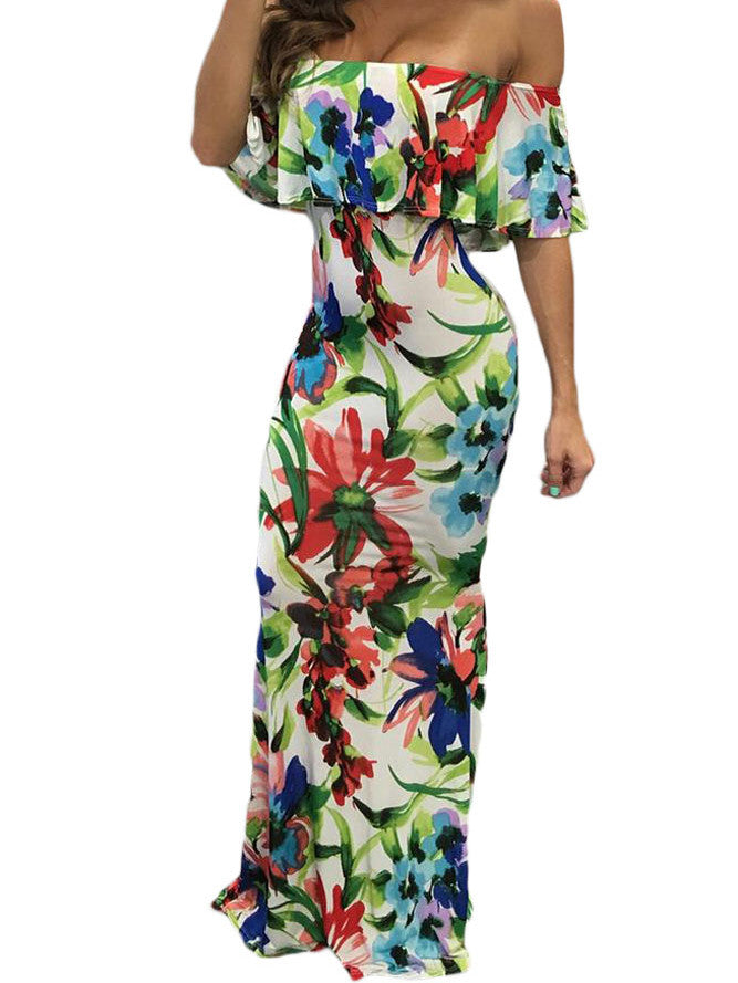 Painting Floral Print Off-the-shoulder Maxi Dress