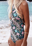 Let's Dance Floral Print One-Piece Bikini