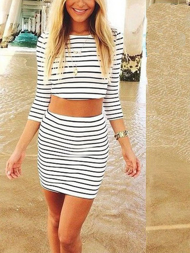 classic striped matching set featured in a long sleeve cropped top and a bodycon skirt