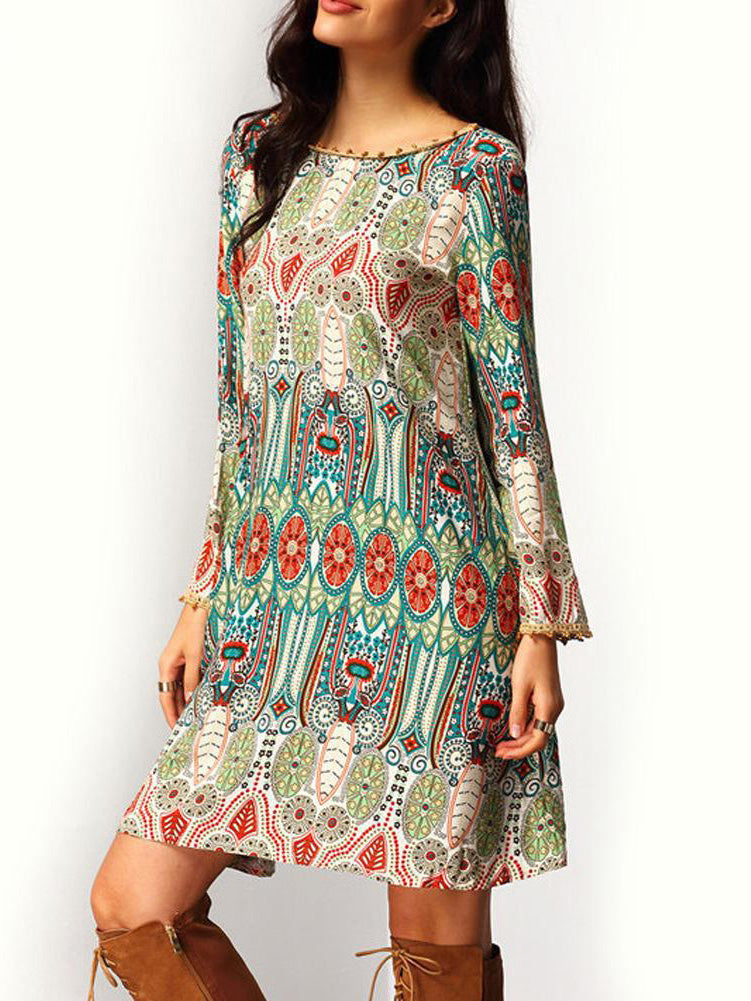 Bohemian Print boat neck long sleeve swing dress with a plunging back and a line silhouette