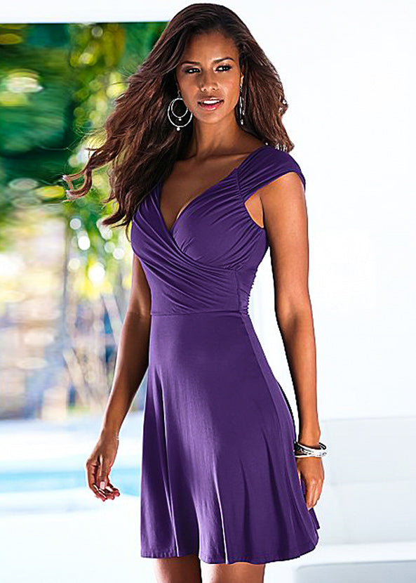 cap sleeve mini dress solid color surplice plunging neck a line dress with a scoop back and pleated trimming