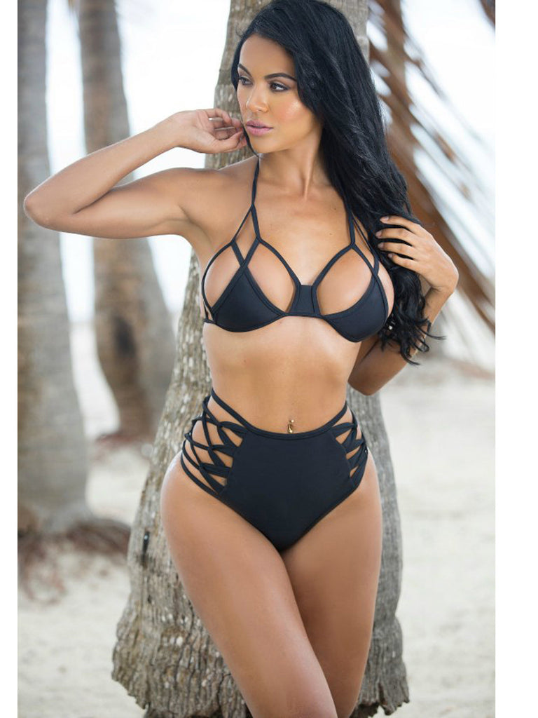 Black Halter Neck Strappy Bikini