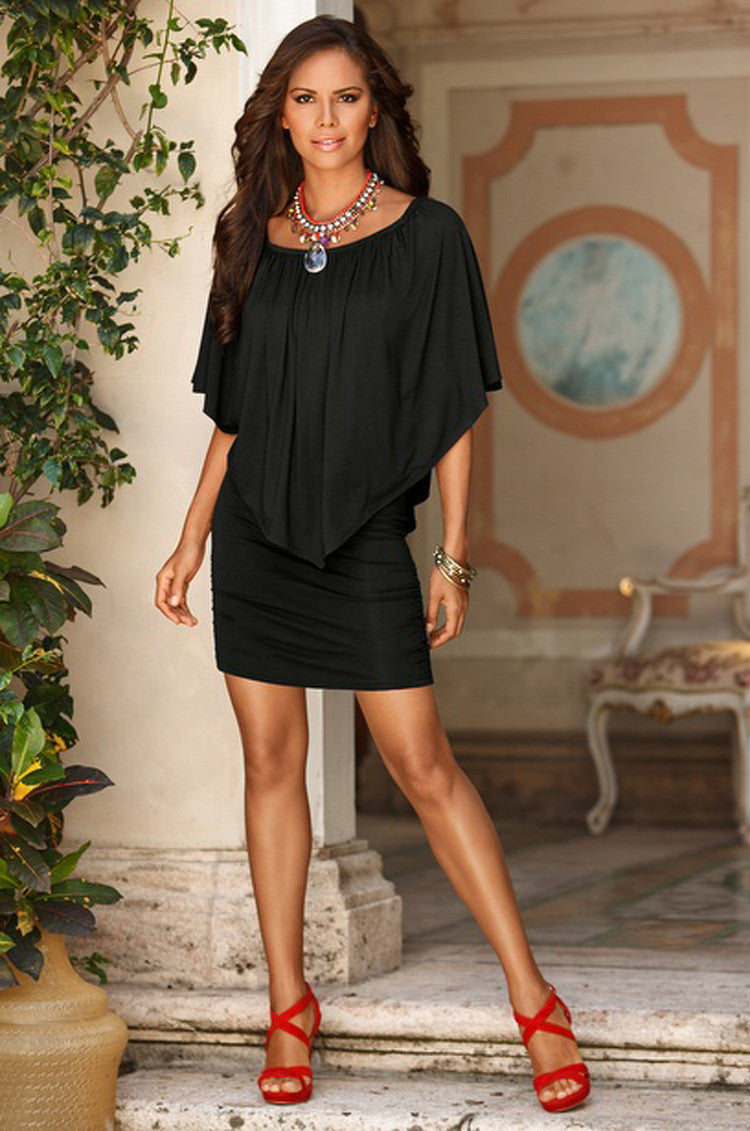 Multiple Dressing Layered Black Mini Dress