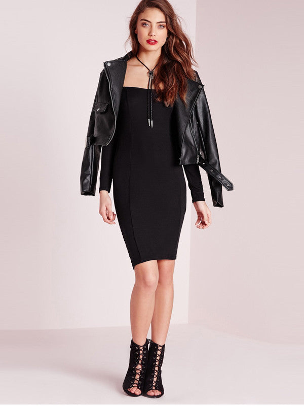 Say Yes Black Off Shoulder Bodycon Dress