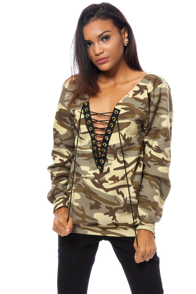 Camouflage Print Plunging Neck Lace Up Pullover