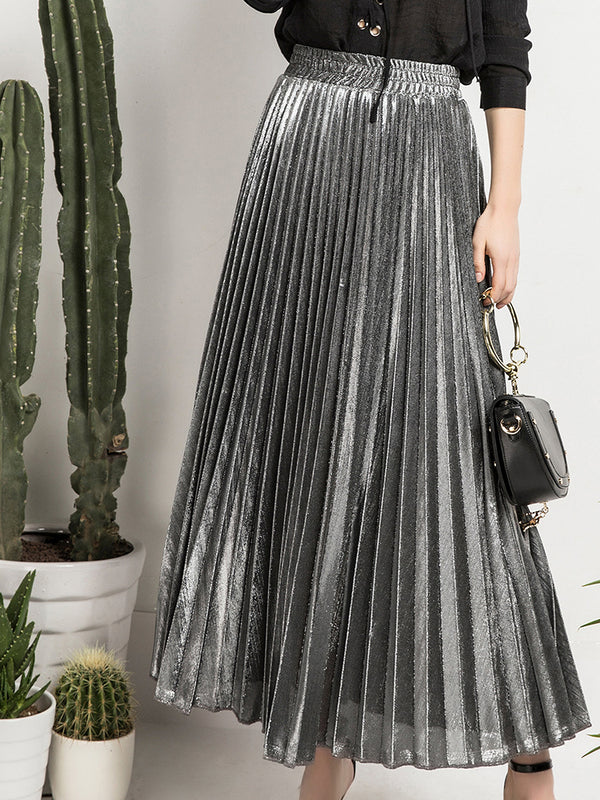 Ruffled A-Line High Waist Maxi Skirt