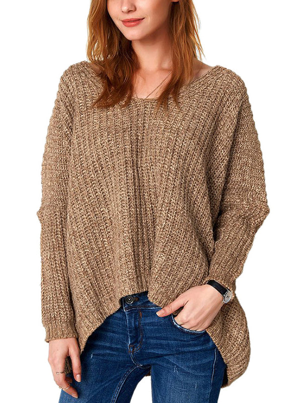 Saturday Morning Plunging Neck High Low Sweater