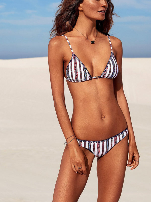 Triangle bikini top featuring stripe details and high-polish grommet detailing