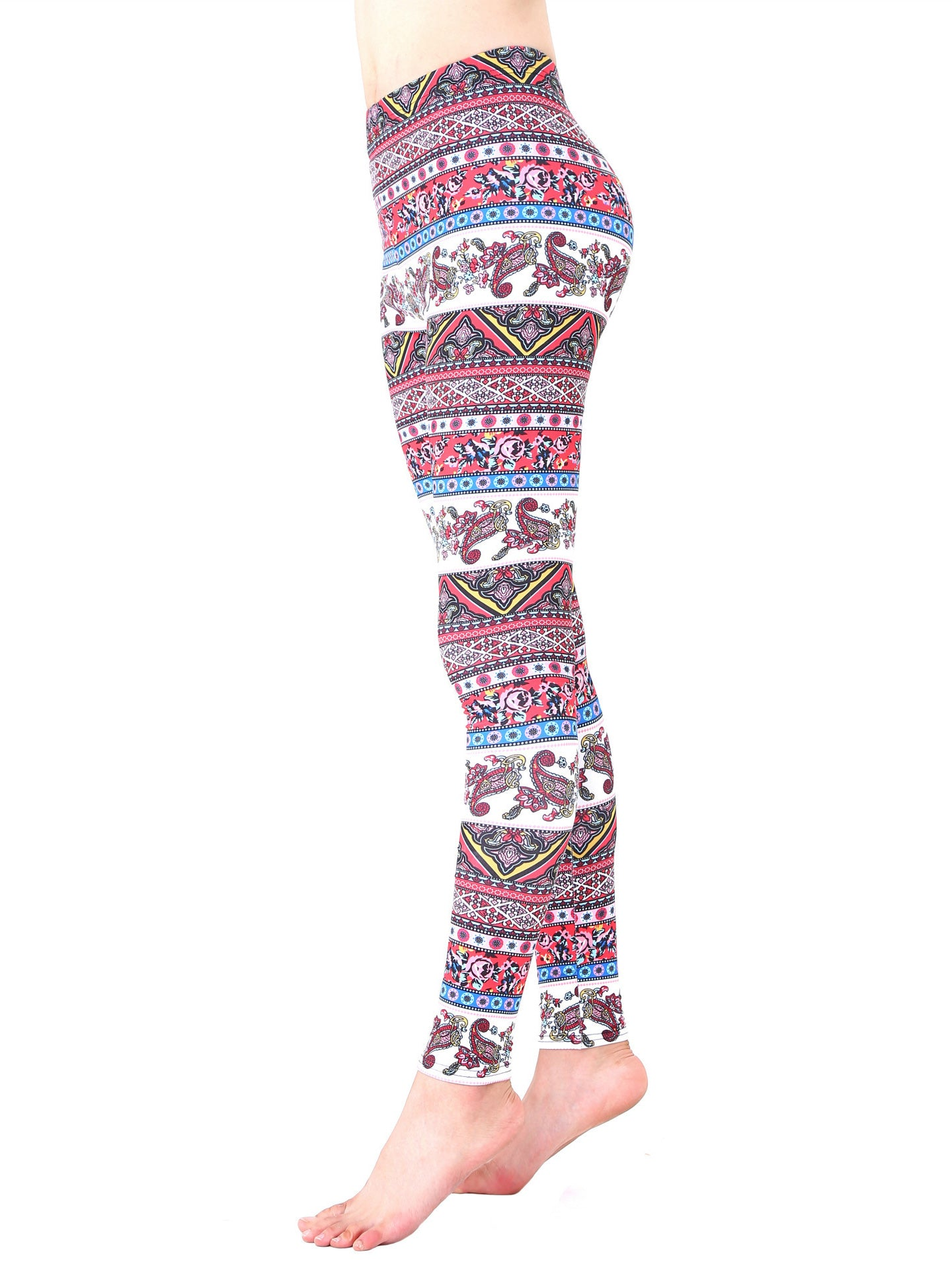 floral print paisley striped yoga pants sports leggings pink blue cute elephant leaf print