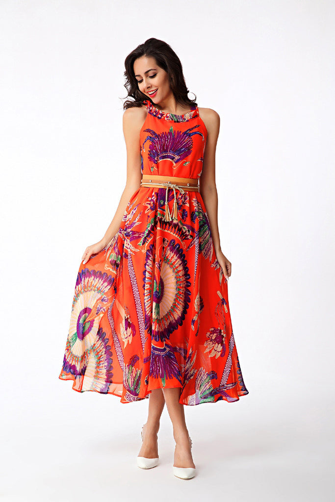 Forever Summer Tribal Print Chiffon Swing Dress