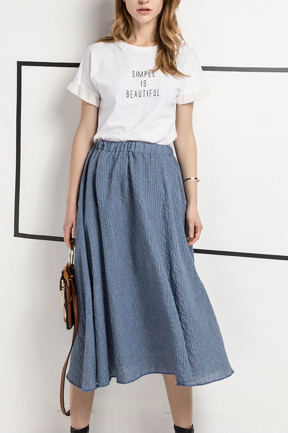 Light-Hearted A Line Flared Midi Skirt