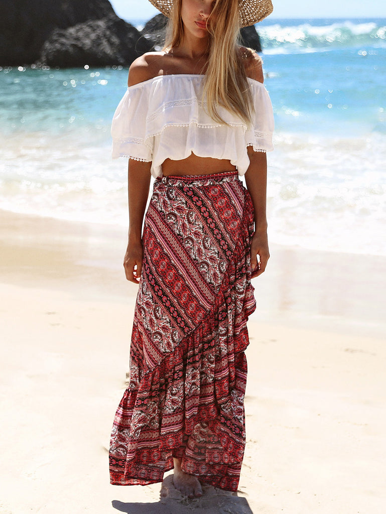 Along The Shorelines Boho Print Pleated Maxi Skirt