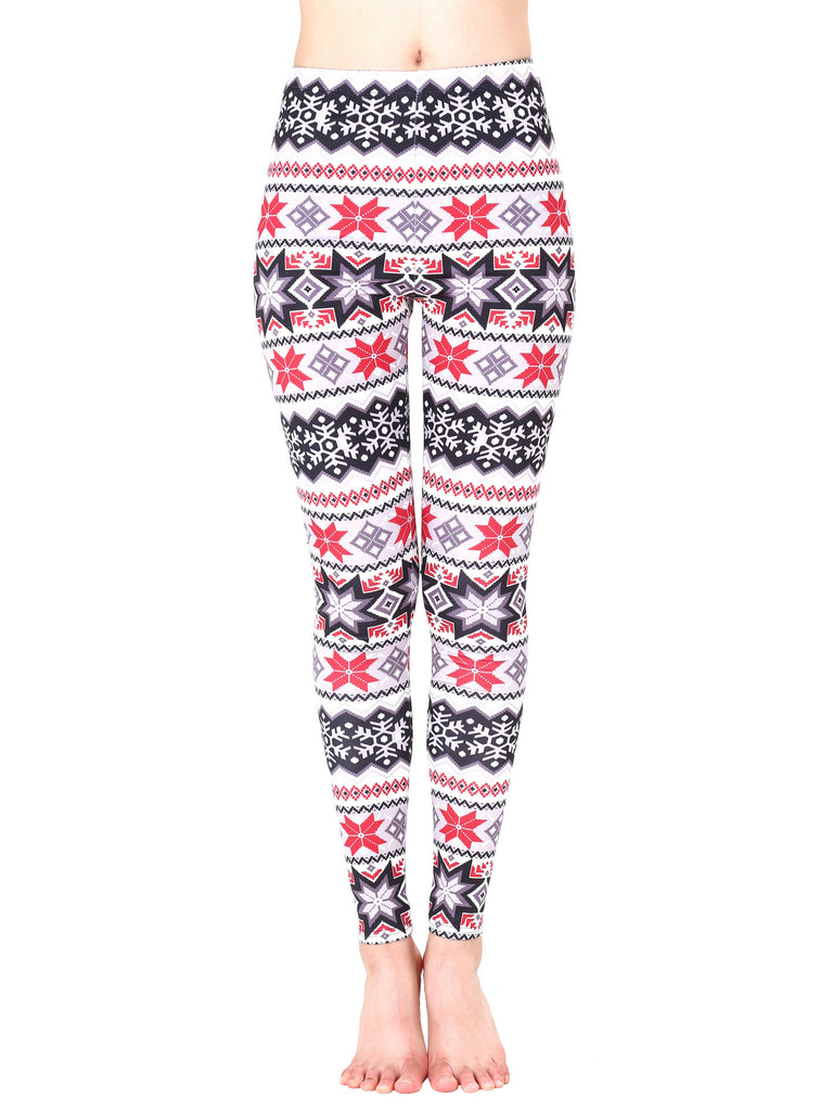 Snowy Xmas Printed Holiday Leggings