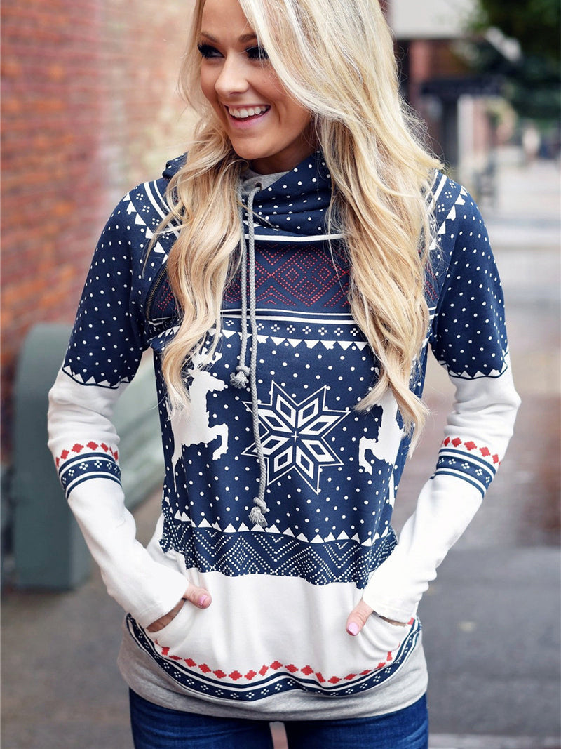 Christmas reindeer Santa print snowflake Nordic boat neck long sleeve holiday blouse top hoodie