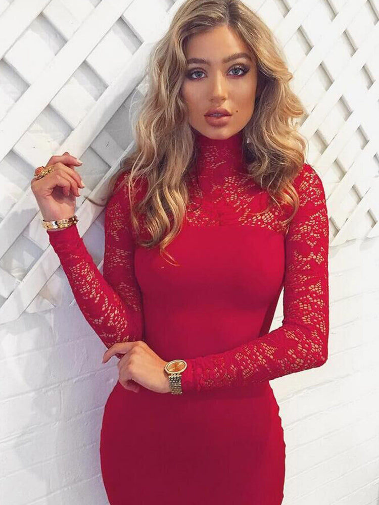 Date Night Lace Sleeve Bodycon Dress