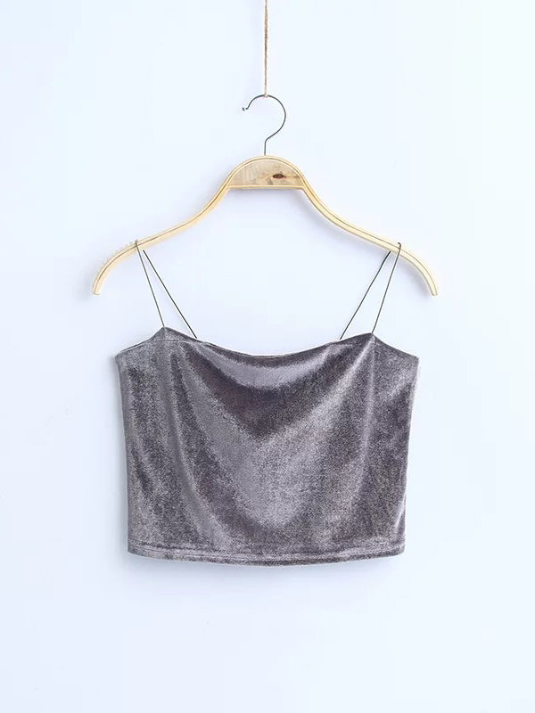 Fun N' Flirty Velvet Crop Top