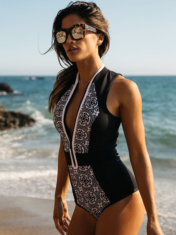 Curvy Vintage Print One Piece Swimsuit