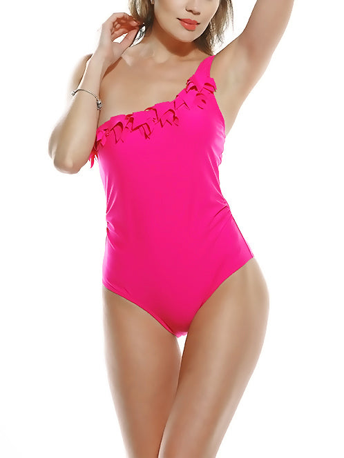 Rosy Makin' Waves One-Shoulder Ruffled Swimsuit