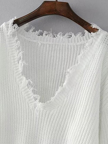 Easy Street Plunging Neck Distressed Pullover