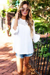 Daily Cheer Lace Sleeve Chiffon Blouse
