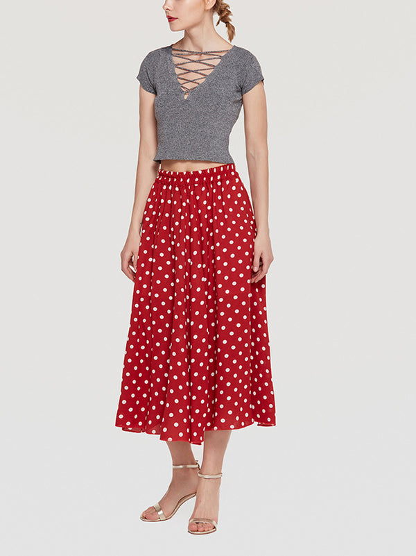 Shore Thing Dotted A-Line Ruffle Midi Skirt
