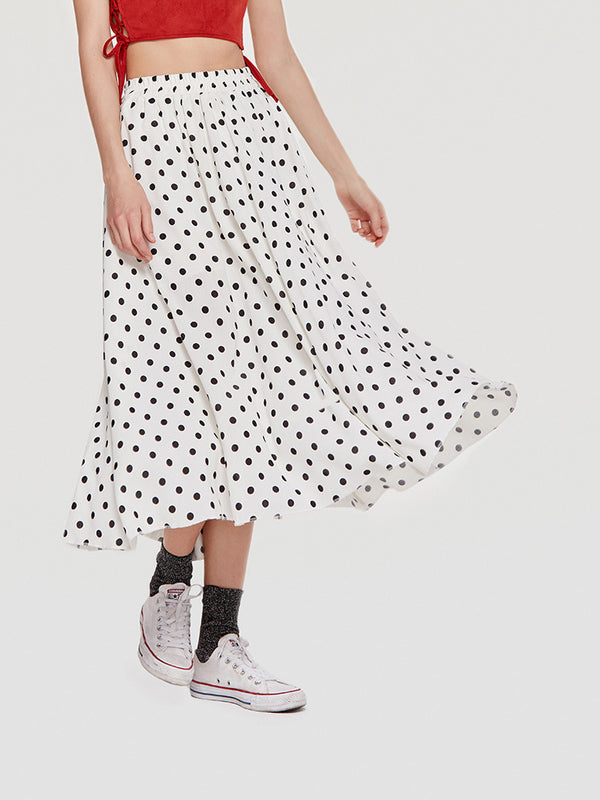 Love for Polka A-Line Midi Skirt