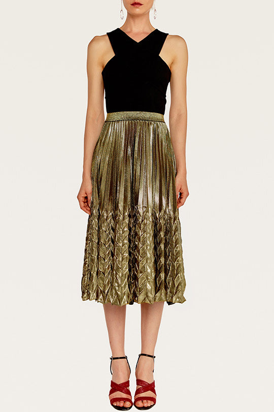 Cocktail Hour Pleated A Line Midi Skirt
