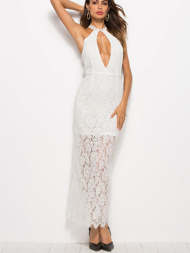2891fd03a61c6 Check Me Out Keyhole Neck Lace Midi Dress – INXCY