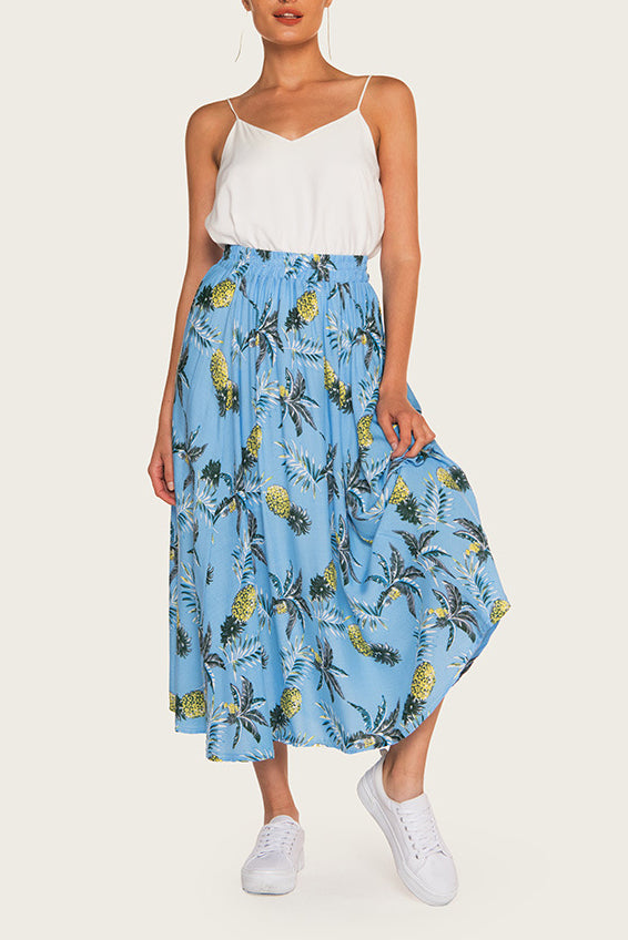 I'm From Miami Ruffled A-Line Midi Skirt