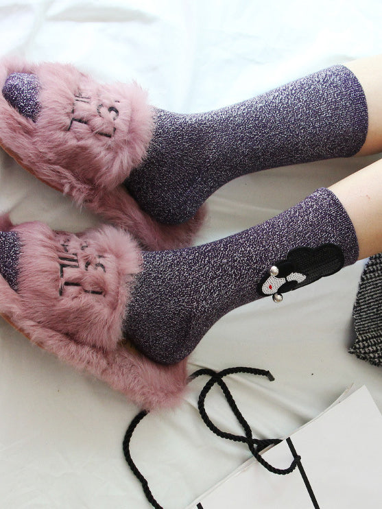 Girl So Pretty Heather Crew Socks