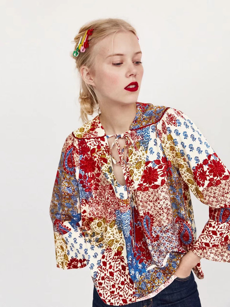 Best Day Ever Floral Print Pleated Blouse