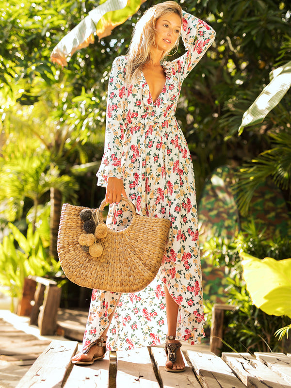 Adriane Floral Print Plunging Neck Maxi Dress