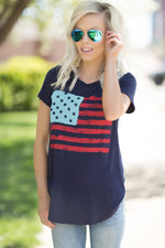 Navy Flag Print T-shirt