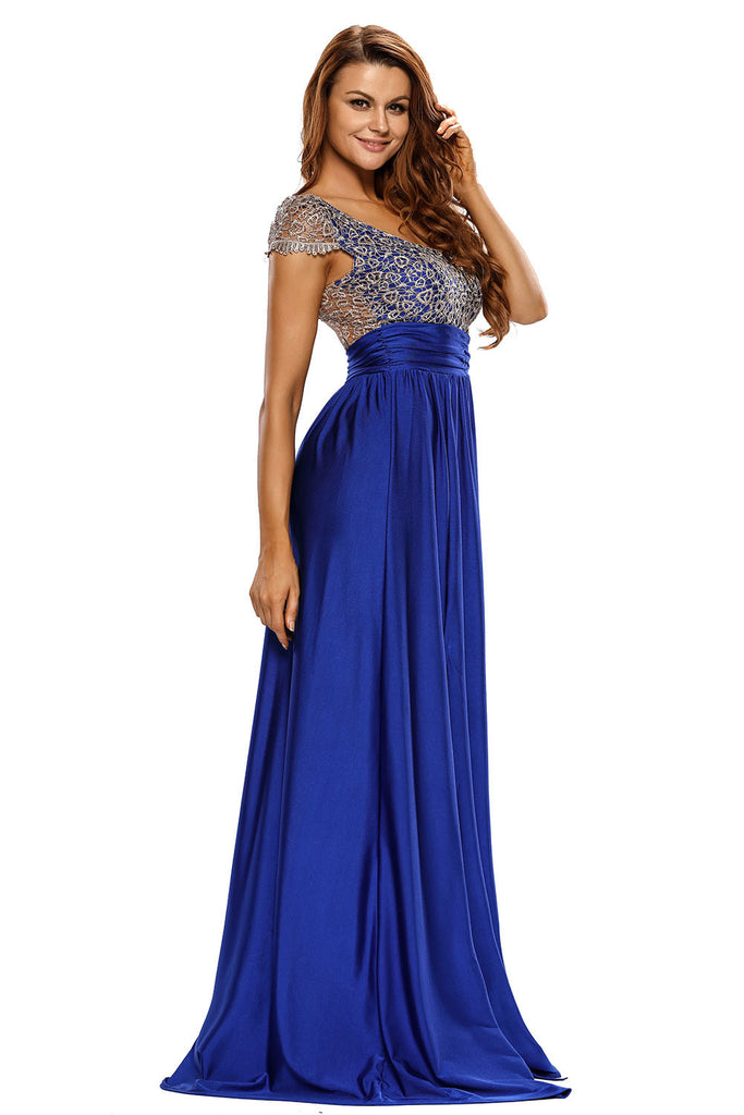 Amazing Gold Lace Overlay Blue Slit Prom Dress
