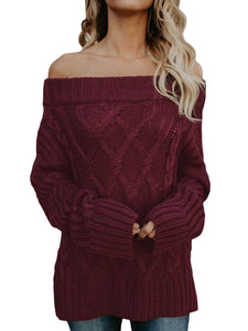 Anissa Cable Knit Off-The-Shoulder Chunky Sweater