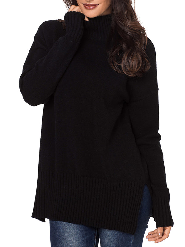 Anita Ribbed Knit High Neck Pullover Sweater