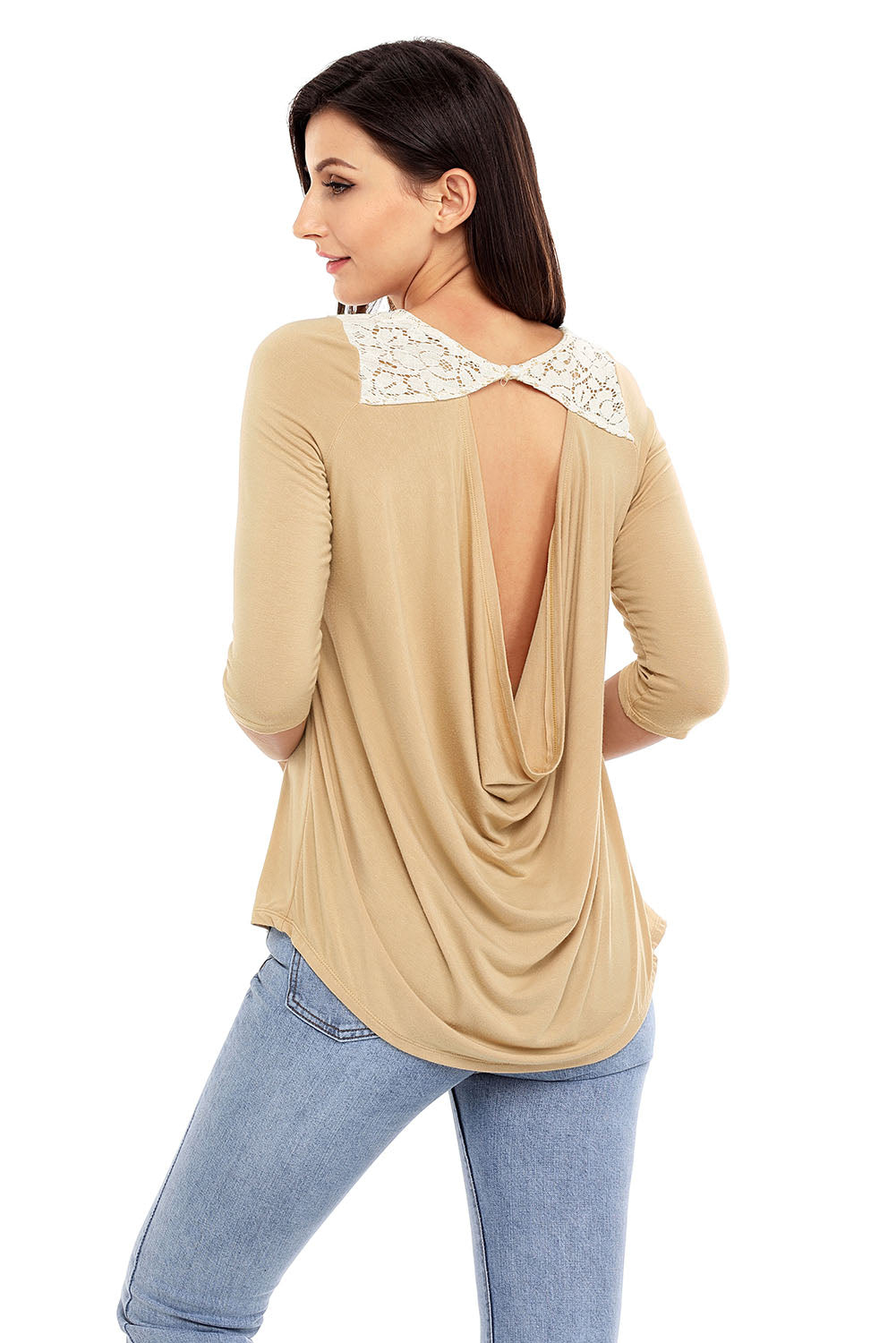 Come Around Apricot Low Cut Top with Lace Insert