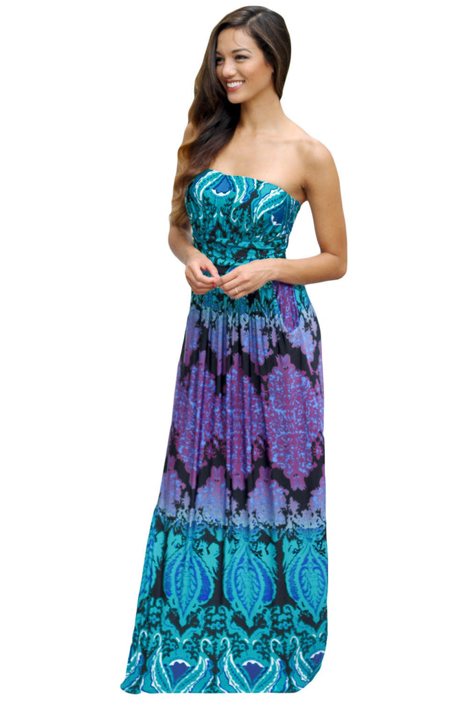 Aqua Purple Strapless Maxi Dress with Pockets