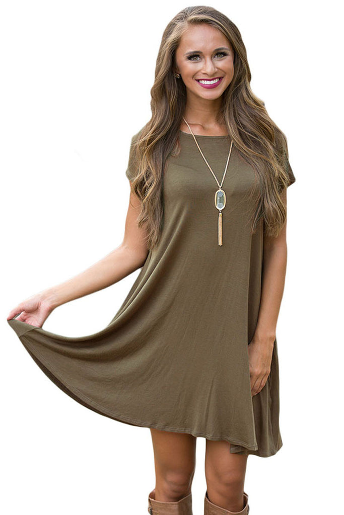 Army Green Short Sleeve Flared Dress