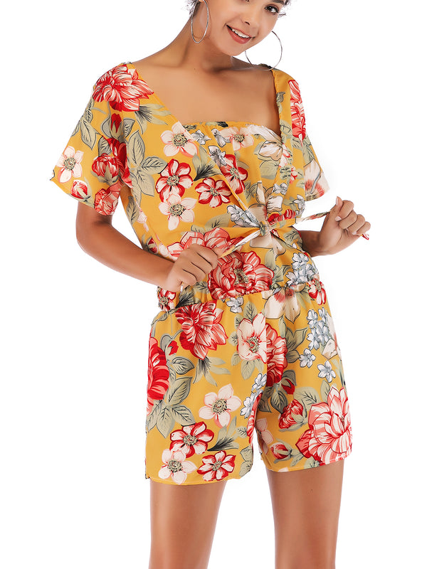 Beach Day Batwing Sleeve Floral Romper Set