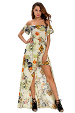 Beige Multi-color Floral Long Romper