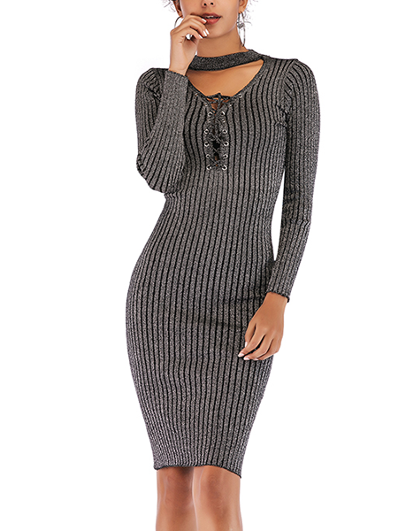 Bianca Ribbed Keyhole Neck Bodycon Dress