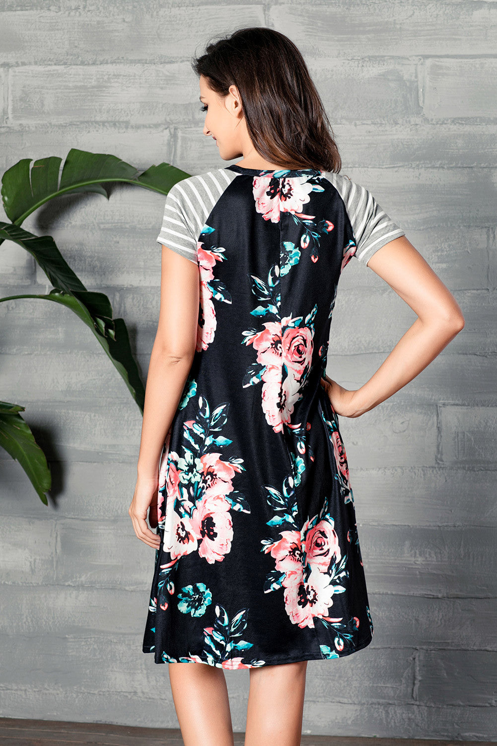 The Flowery Piece Black Floral Print A-line Loose T-shirt Dress