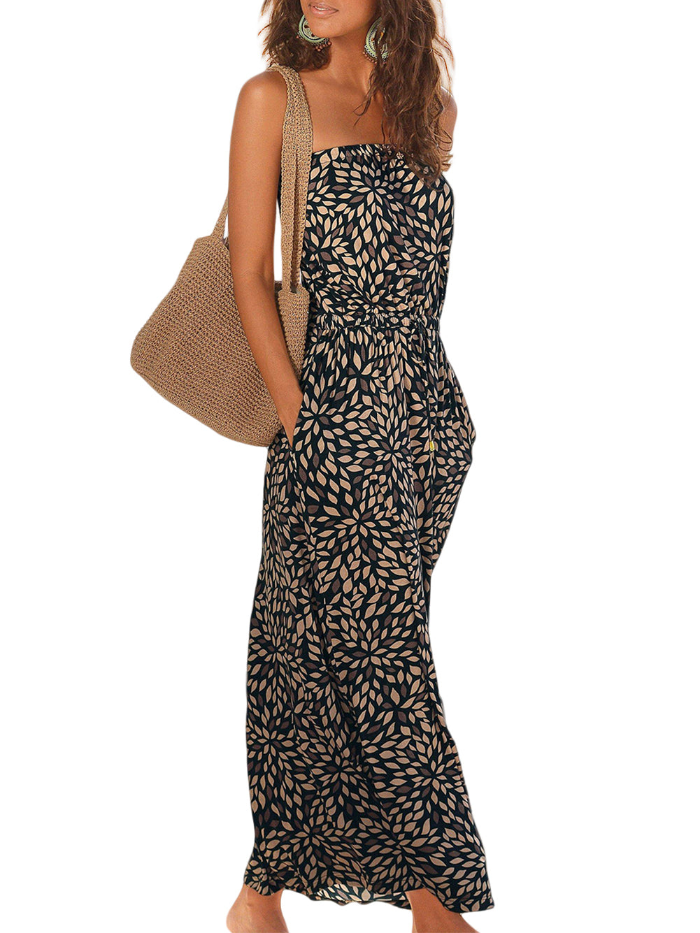 Black Bohemian Bandeau Floral Print Maxi Dress