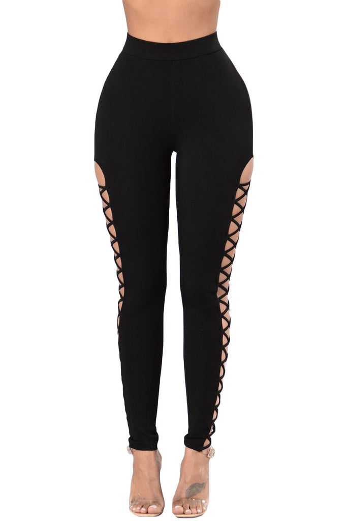 Black Crisscross Cutout Sides Sports Leggings