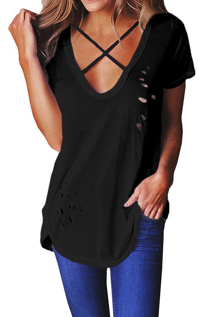 Black Crisscross Neckline Distressed Cotton T-shirt