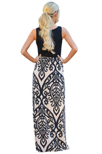 Black Damask Print Sleeveless Long Boho Dress