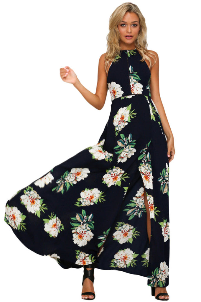 Black Floral Cutout Back Halter Split Maxi Boho Dress
