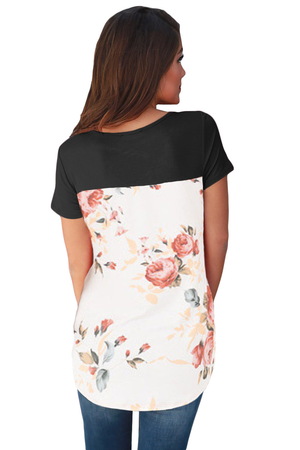 Black floral print lower back t shirt inxcy for Black floral print shirt