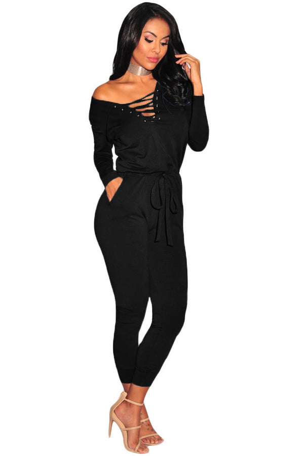 Fun And Flirty Lace Up Jumpsuit